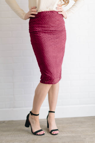 Laser Cut Suede Pencil Skirt