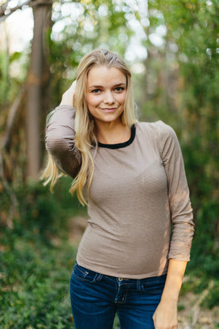 Striped Brenna Top (Taupe/Black)
