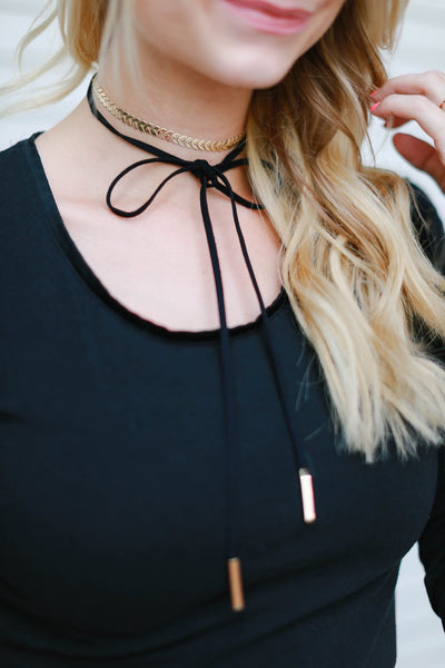 Gold and Suede Choker Wrap (Black)