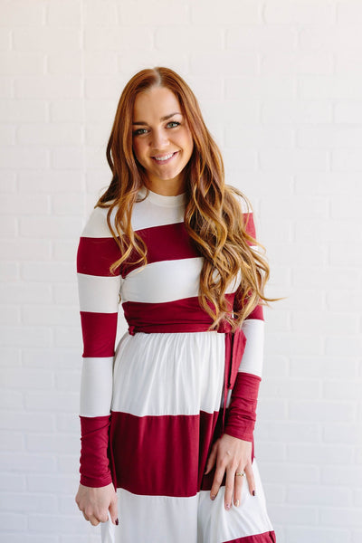 Mandee Dress (Burgundy/Ivory)