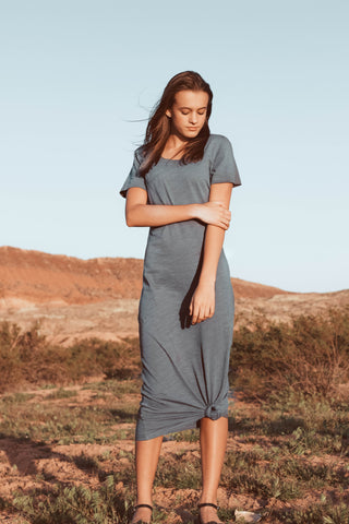 Gray Midi T-Shirt Dress