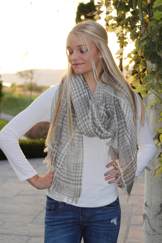 Neutral Plaid Wrap Scarf