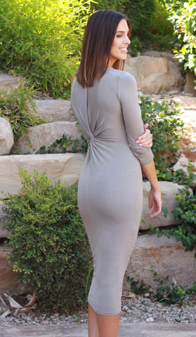Twist-Back Dress (Taupe)