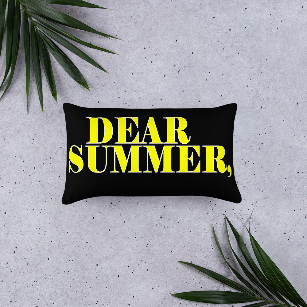 DEAR SUMMER, BLACK&YELLOW Basic Pillow - THREEKEYSBRAND