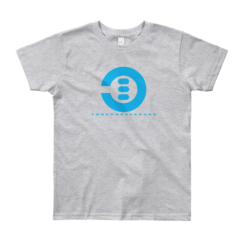 Light Blue Youth Short Sleeve T-Shirt - THREEKEYSBRAND