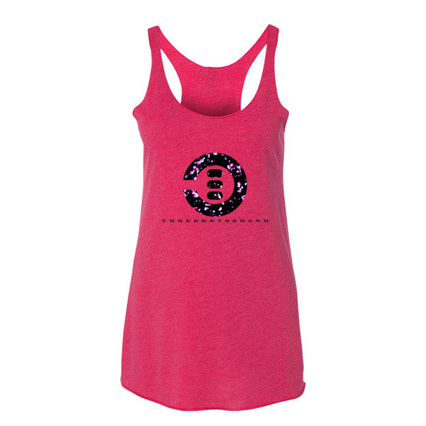 Ladies Pink and Black Petal Tanks - THREEKEYSBRAND