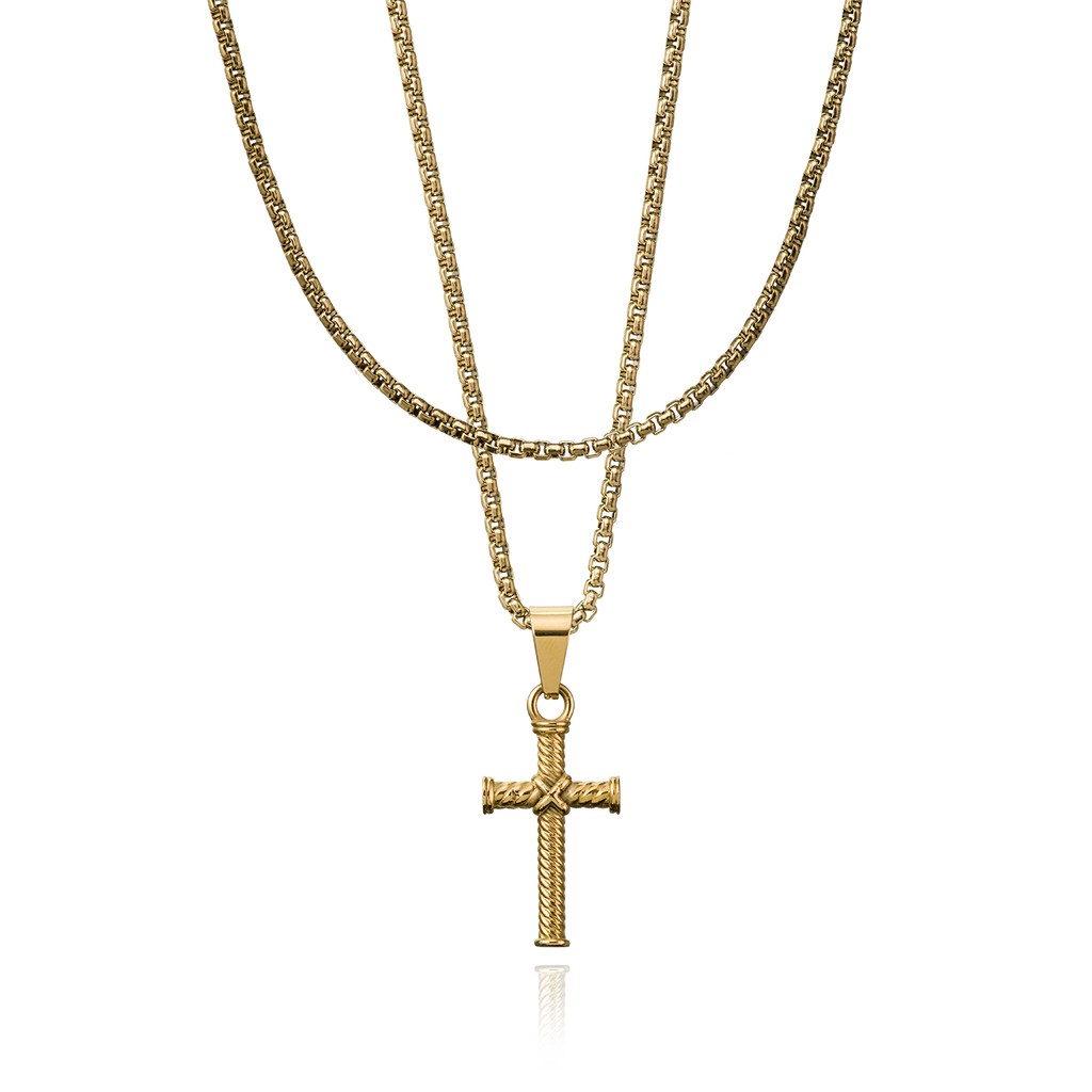 Layerup set Cross ropechain - goud