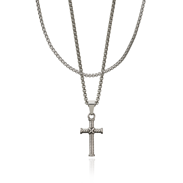Layerup set Cross ropechain - zilver