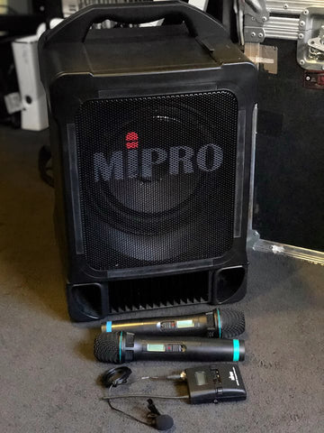 Portable MIPRO PA System Hire (with wired or optional wireless mics & wireless lapel mic)