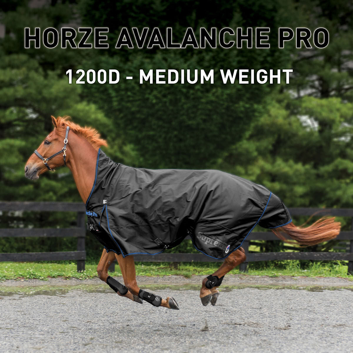 Couverture de mi-saison Supreme Avalanche 1200D Medium Weight Turnout - (Horze 24047)