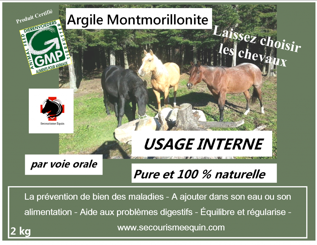 Argile verte à usage interne - (Secourisme Équin)