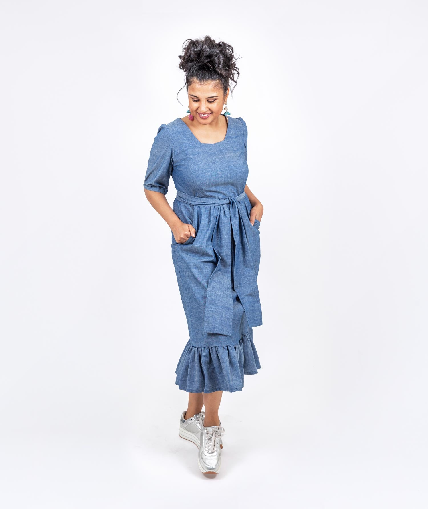 Florish Chambray Dress by Holi Boli