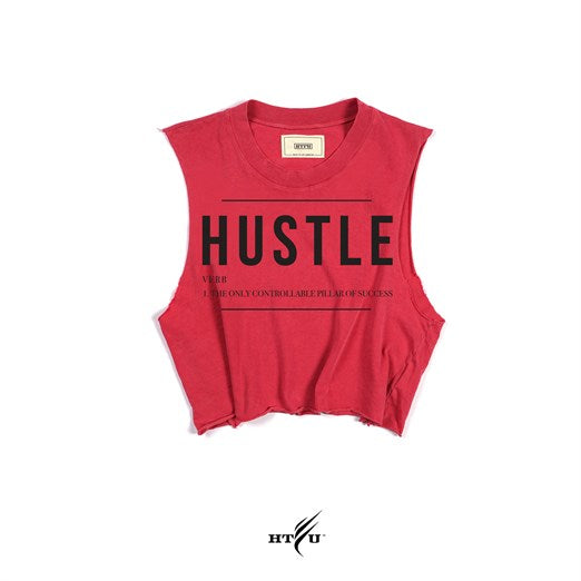 Ladies Hustle v1 Cropped Muscle Tank - Washed Red