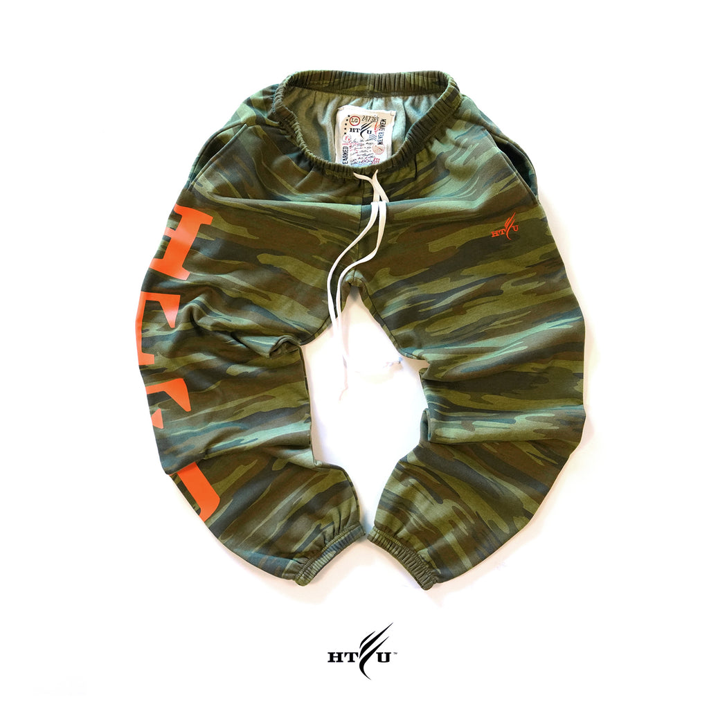GymRat Sweatpants - Woodland Camo Orange Edition