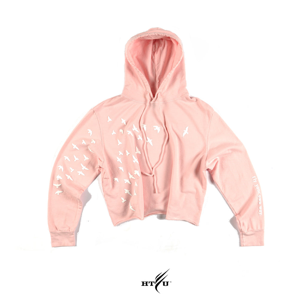 Ladies Fly Your Own Way Cropped Hoodie - Pink