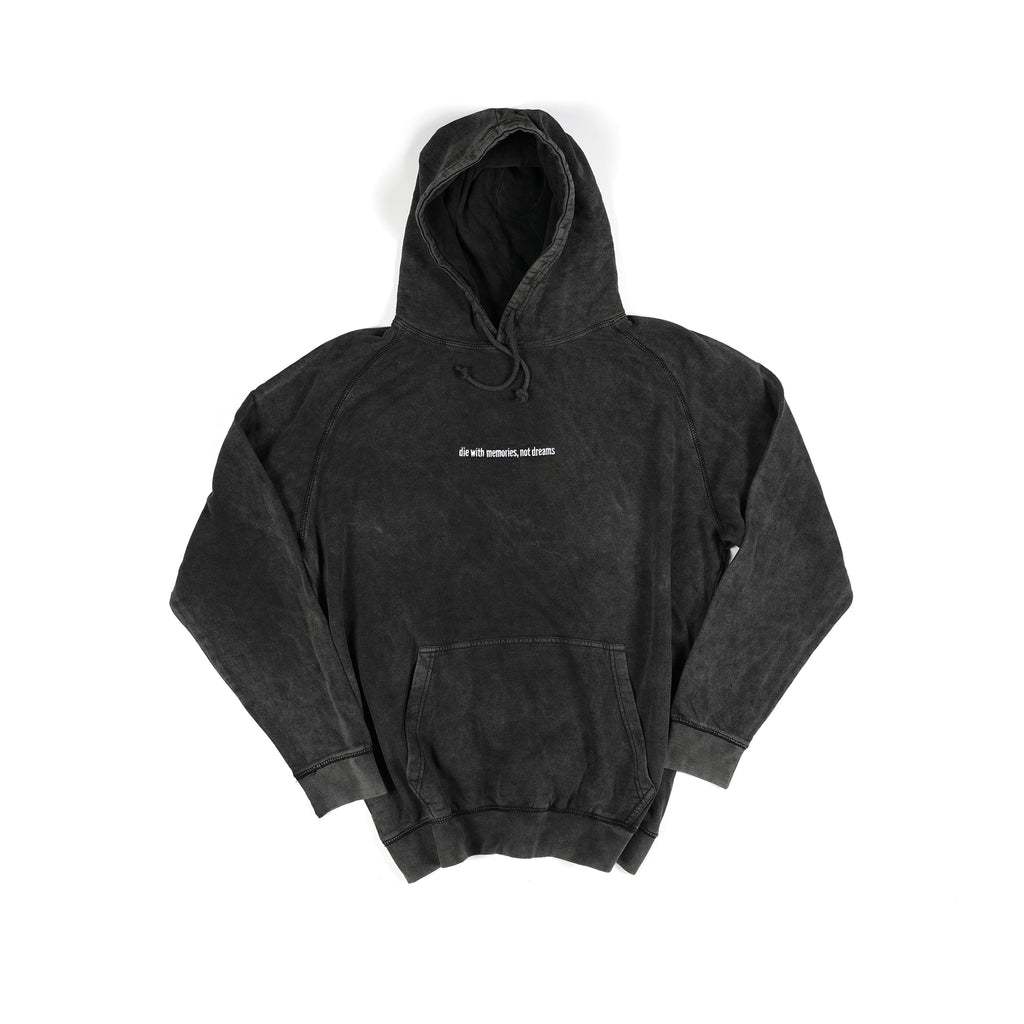 Embroidered Die With Memories Pullover Hoodie - Vintage Black