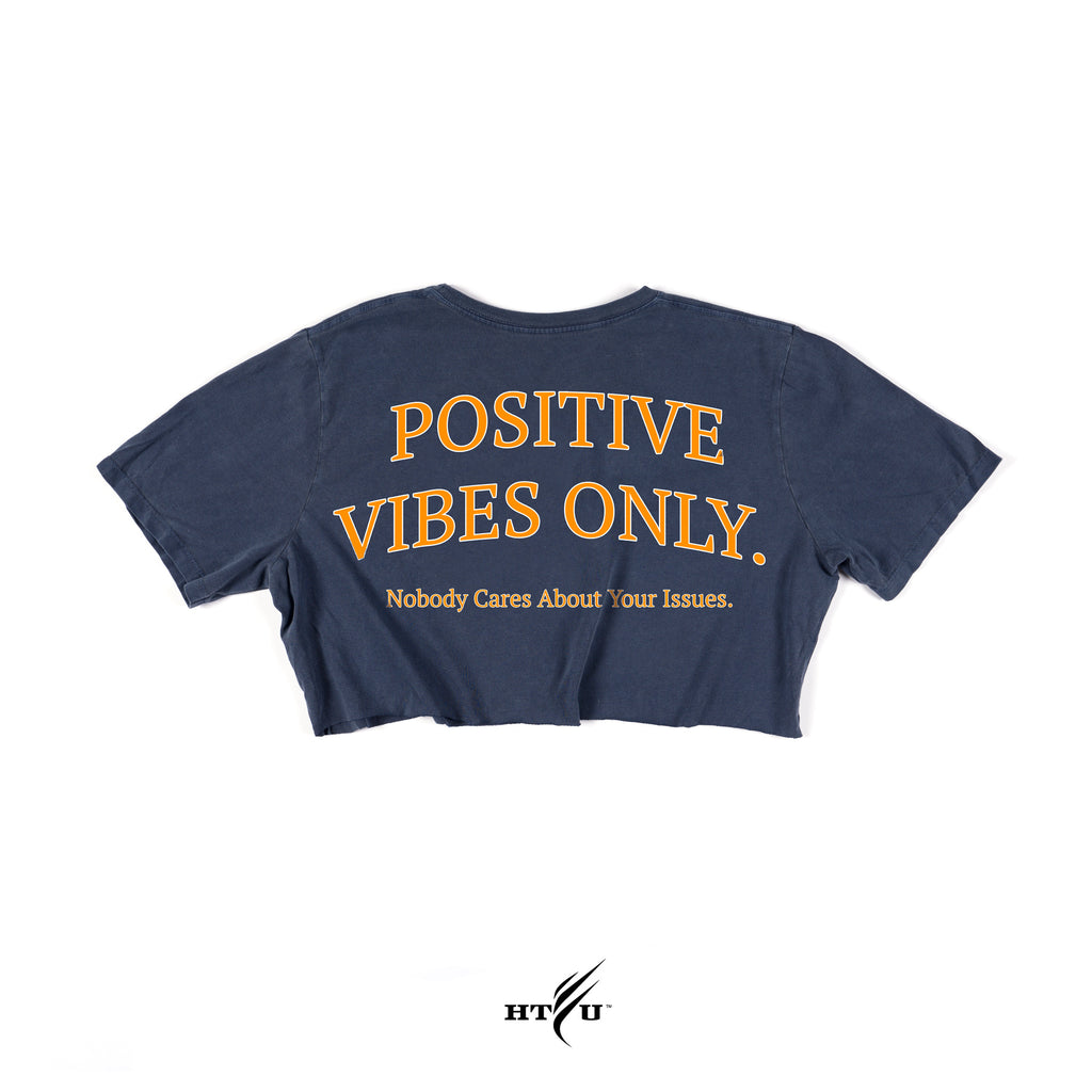 Ladies Positive Vibes Crop - Navy Blue