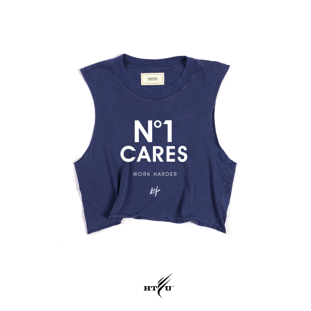 Ladies No1 Cares Cropped Muscle Tank - Navy Blue