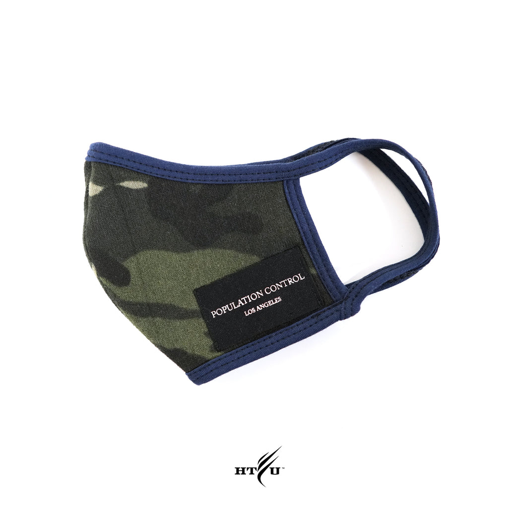 Population Control Mask - Woodland Camo / Blue Trim