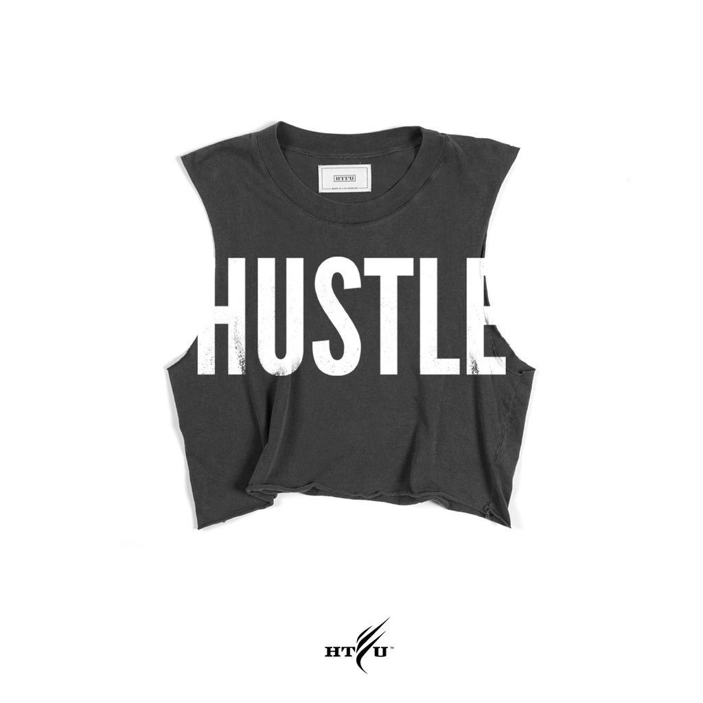 Ladies Hustle v2 Cropped Muscle Tank - Charcoal Grey