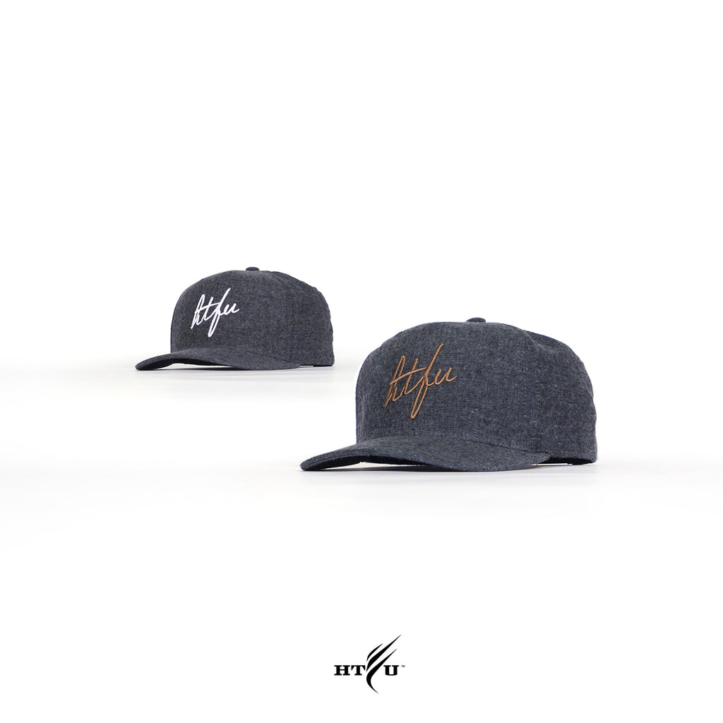 Wool Script Snapback - Gold on Midnight Blue