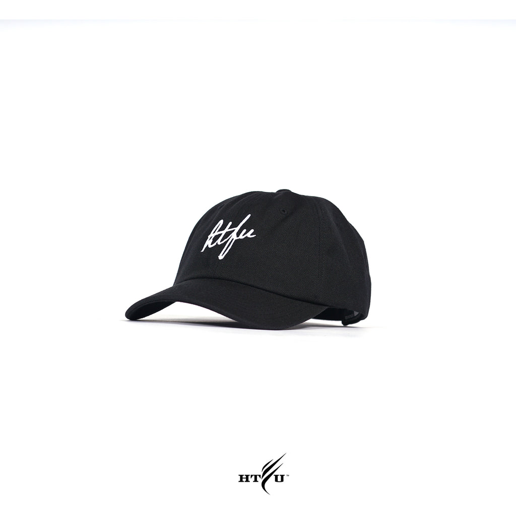 Script Curved Bill Strapback - Black