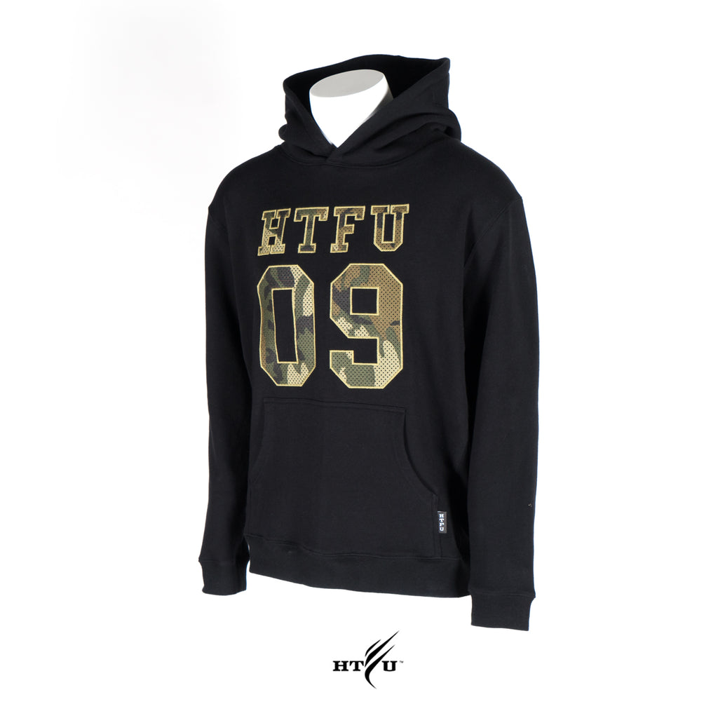 Game Day Pullover Hoodie - Green Camo on Black