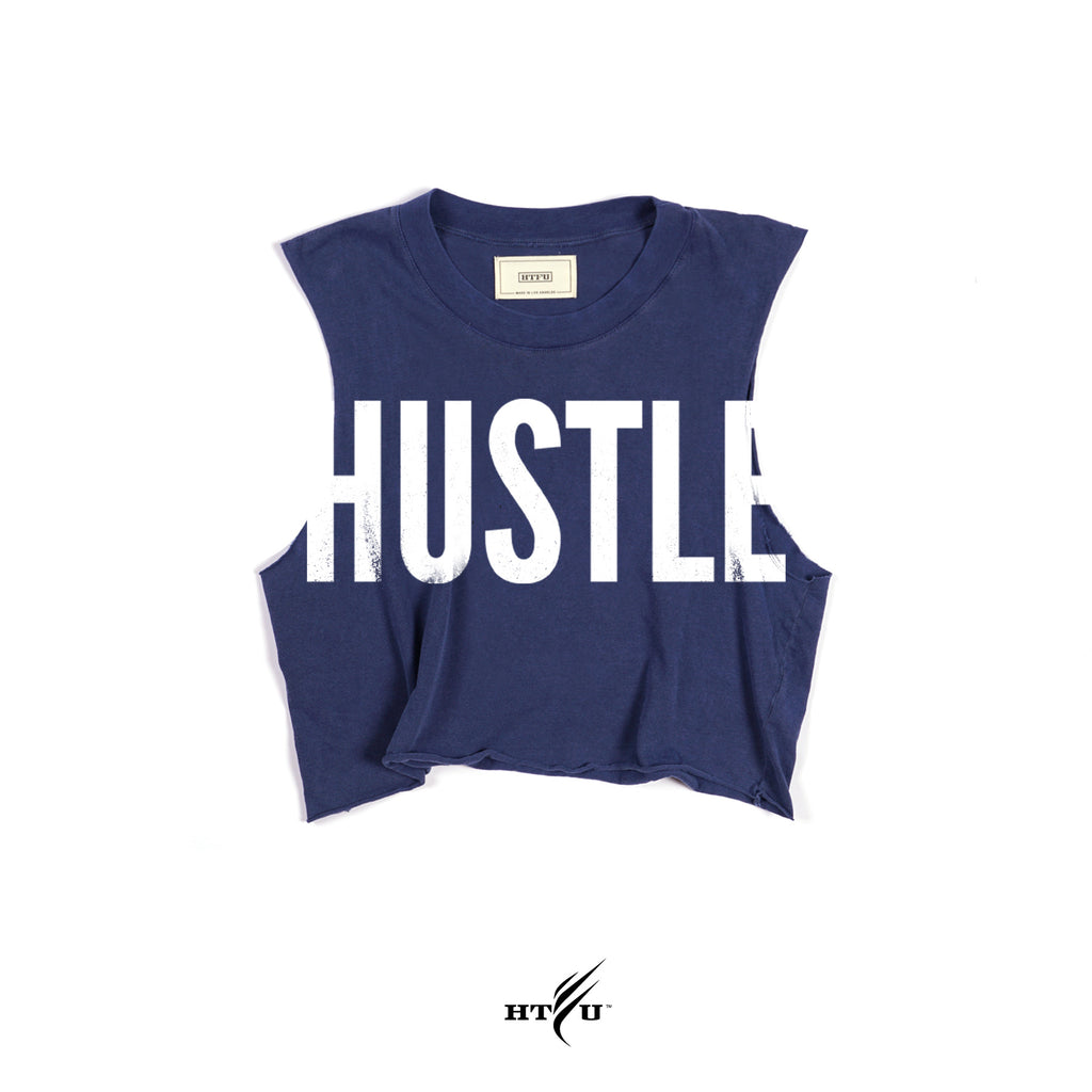 Ladies Hustle v2 Cropped Muscle Tank - Navy Blue