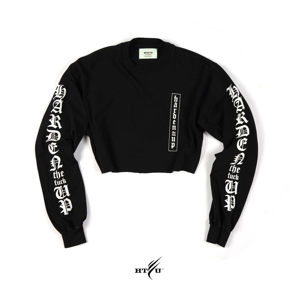 Ladies Cropped Secret LS Tee - Black