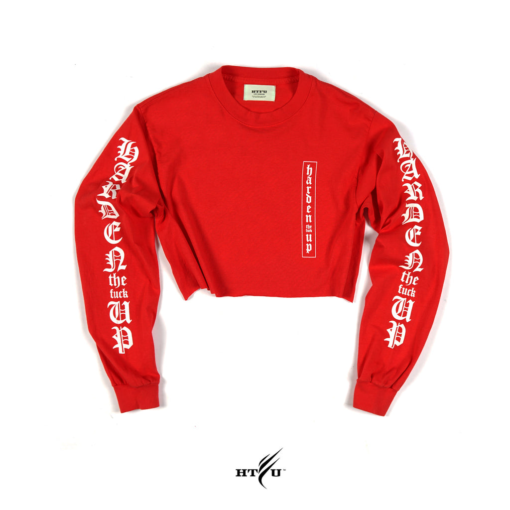 Ladies Cropped Secret LS Tee - Red
