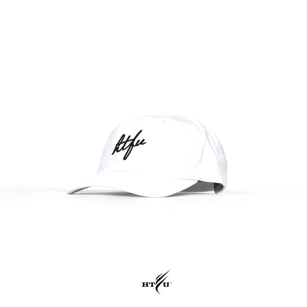 Script Curved Bill Strapback - White
