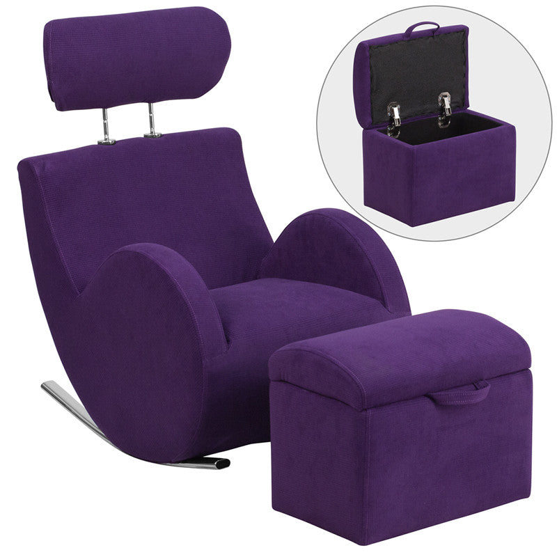 Purple Fabric Kids Rocker Gaming Chair W/ Storage Ottoman   Gamers Seat   1