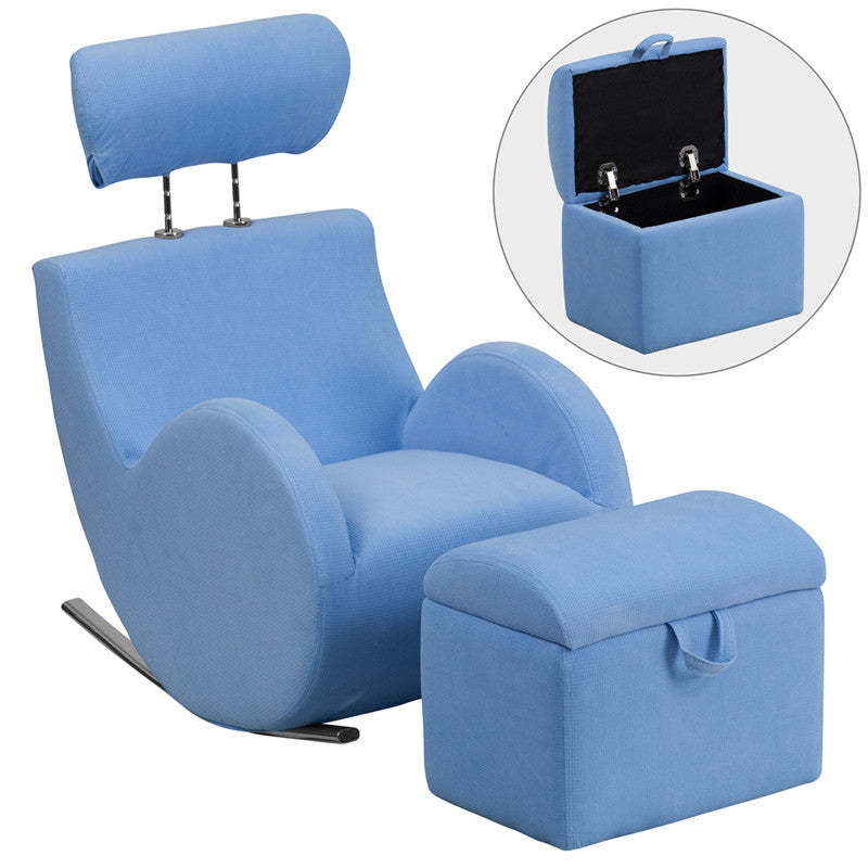 Light BLU Fabric Kids Rocker Gaming Chair w/ Storage Ottoman - Gamers Seat  - 1 - Light BLU Fabric Kids Rocker Gaming Chair W/ Storage Ottoman