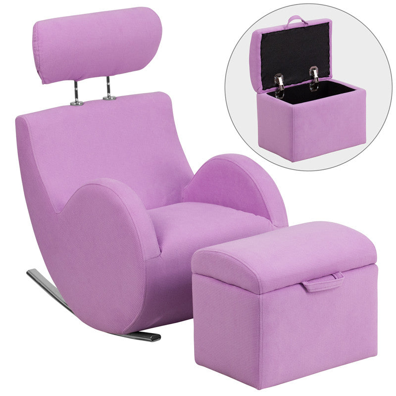 Lavender Purple Fabric Kids Rocker Gaming Chair W/ Storage Ottoman   Gamers  Seat   1