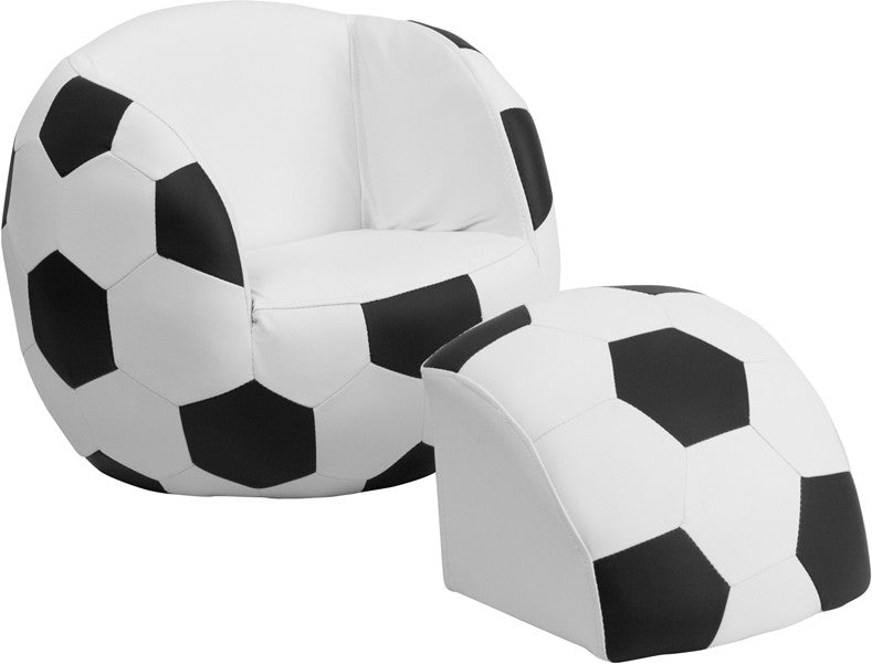 Kids Soccer Ball Themed Chair W/Footstool Ottoman   Gamers Seat   1