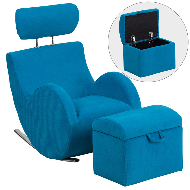 Turquoise Blue Fabric Kids Rocker Gaming Chair W/ Storage Ottoman   Gamers  Seat   1
