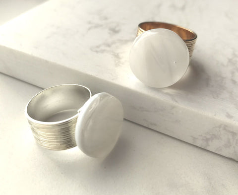 Swirly White Circle Ring- adjustable in silver & gold