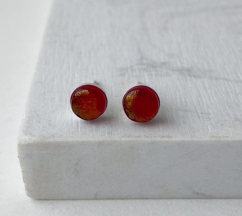 Maria Stud Earrings- Iridized Red
