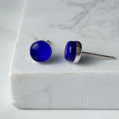 Maria Stud Earrings- Neon Cobalt
