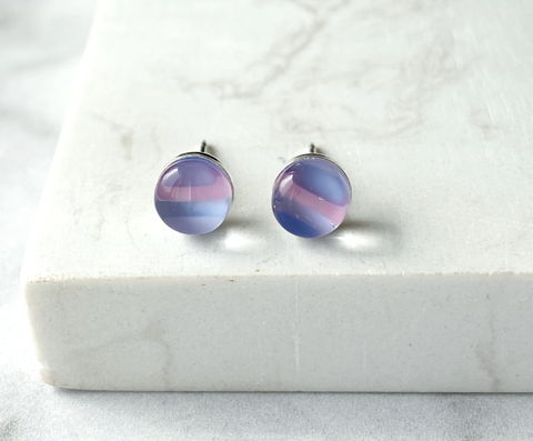 Maria Stud Earrings- Striped purple & pink
