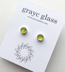 Maria Stud Earrings- Striped lime/grey/mint
