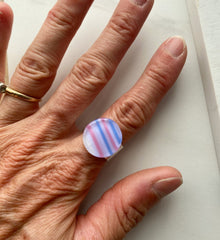 Striped Purple/Pink Circle Ring- adjustable in gold & silver