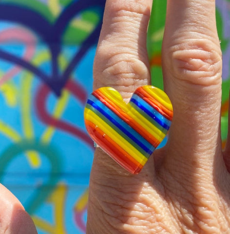 Rainbow Heart Ring- adjustable in gold & silver