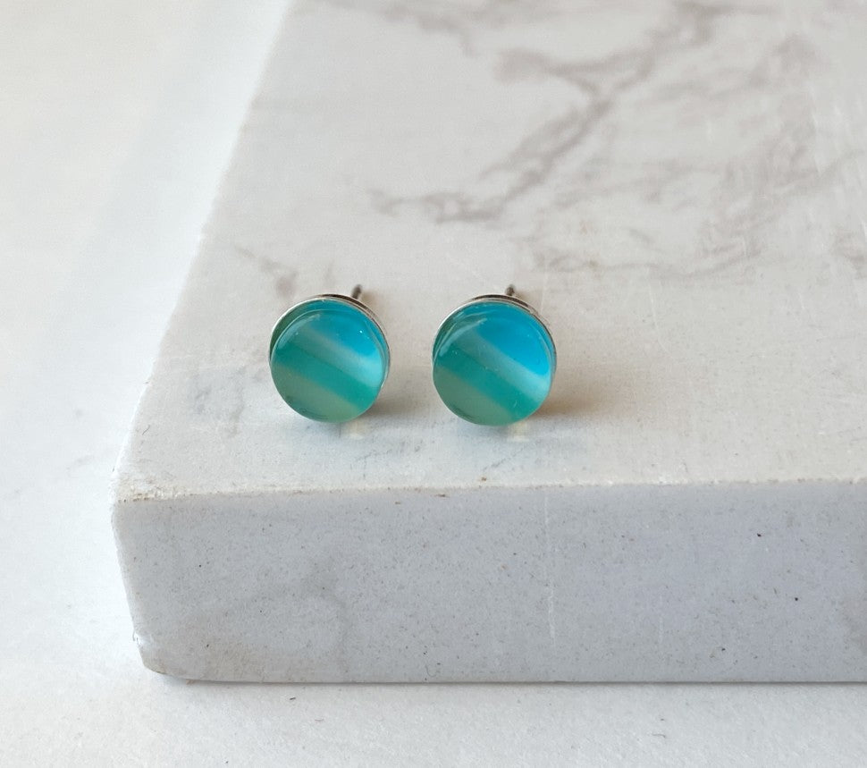 Maria Stud Earrings- Striped Blues