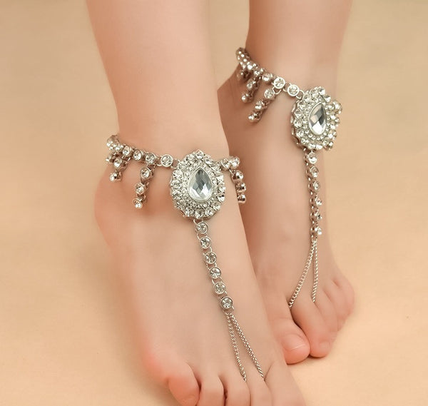 Boho, Gypsy and Crystal Beach Foot Jewelry | Barefoot Sandals at Body Kandy Couture