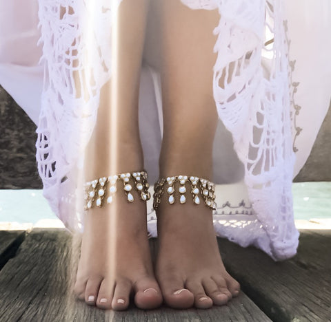 Juno Gold Jeweled Anklets