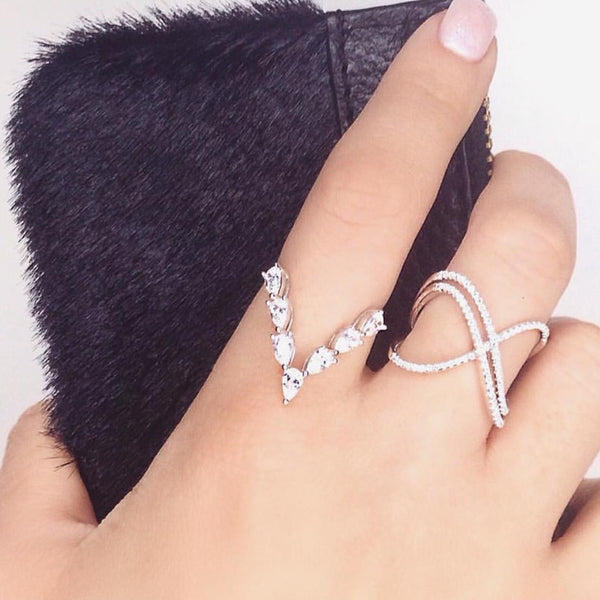 Tessa Diamanté V Ring - .925 Sterling Silver, Art Deco Ring, Chevron Ring, Cubic Zirconia Ring, CZ Diamond ring, Cz Ring, Diamond Ring, Ring, Ring stack, Rings, Silver, Stacking Ring, Sterling Silver V Ring, V Ring