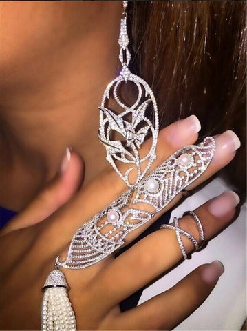 Diamond Lace Full Finger Ring, Art Deco ring long statement ring diamonds and pearls