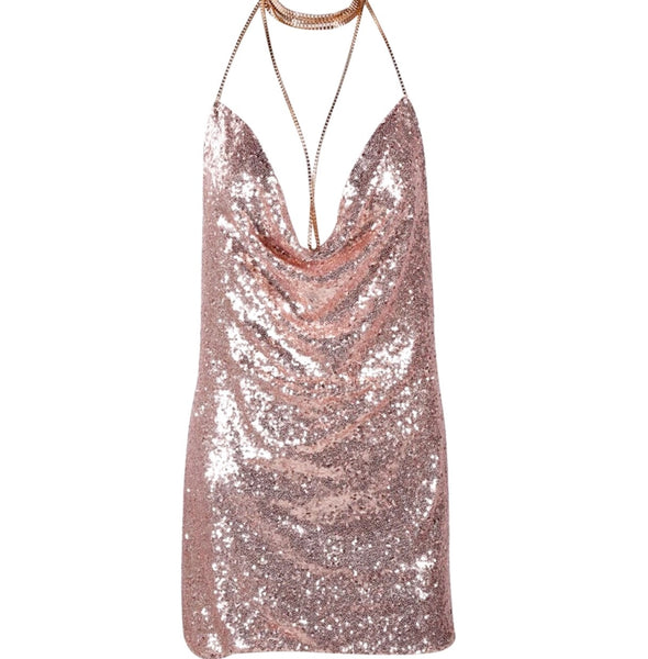 Nadine Gold Sequin Halter Dress-Dress-Body Kandy Couture