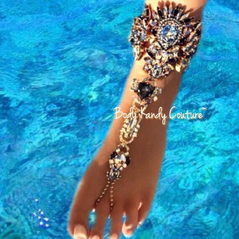 Inoa Bronze Jeweled Crystal BareFoot Sandals - Ankle chain, Barefoot sandal, Barefoot Sandals, barefoot sandals bridesmaids, barefoot sandals crystals, Barefoot sandals wedding, Beach Wedding, Beach Wedding Jewelry, bohemian, Bronze, Crystal beach barefoot sandal, Crystal Foot Chain, Foot Jewelry, Footless Sandals, Gold, Inoa by Body Kandy Couture
